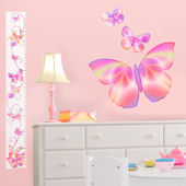 Fluttering Butterfly Pink Peel Stick Growth Chart