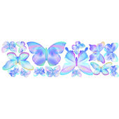 Fluttering Butterfly Blue Peel and Stick Stickers