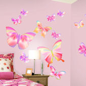 Fluttering Butterfly Pink Peel and Stick Stickers