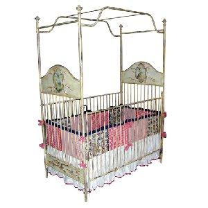 Hand Painted Floral Iron Crib