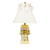 Yellow with Roses Lamp and Ribbon Shade