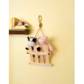 Glenna Jean Wall Hanging Pig and Cow on Fence
