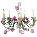 5 Arm Pink and Green Leaf and Flower Chandelier