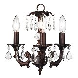 3 Arm Stacked Glass Chandelier Multiple Finishes