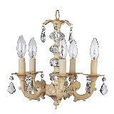 5 Arm Stacked Glass Chandelier