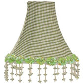 Jubilee Green Check Pearl Floral Chandelier Shade