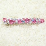 Pink and Clear Swarovski Crystal Barrette