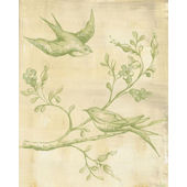 Toile Birdies Green Wall Art