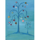 Double Bubble Tree on Blue Wall Art