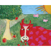 Red Cow Wall Art