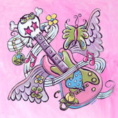 Pink Tattoo Guitar Wall Art