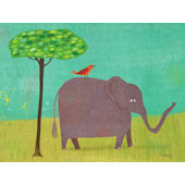 Elephant and Red Bird Wall Art