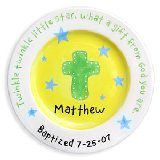 Cross and Stars Boy Personalized Plate