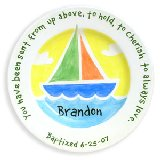 Sailboat Baptism Personalized Plate