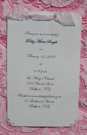 Ribbon Christening Invitations
