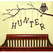 Personalized Owl On A Branch Wall Decal Sticker