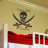 Personalized Skull and Sword Wall Sticker Decal