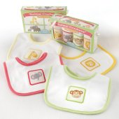 Animal Crackers for Messy Snackers 4 Piece Bib Set