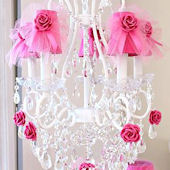 5 Light Chandelier With Hot Pink Tulle Bow Shades