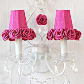 Double light Wall Sconce With Hot Pink Rose Shades