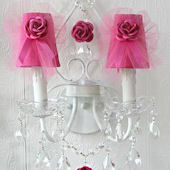 Double Light Wall Sconce With Pink Tulle Shades