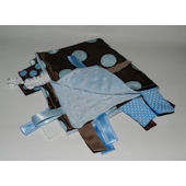 Blue and Brown Dot Minky Blanket