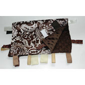 Brown and White Paisley  Minky Blanket