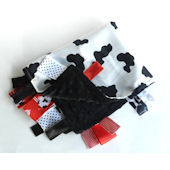 Black Red and White Cow Spots  Minky Blanket