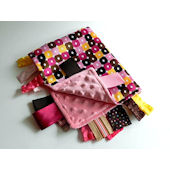 Foxy Boxy Pink Brown and Mango  Minky Blanket