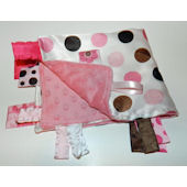 Pink and Brown Jumbo Dots Minky Blanket
