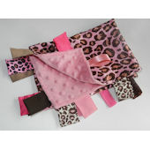 Pink Leopard with Rose Minky Blanket
