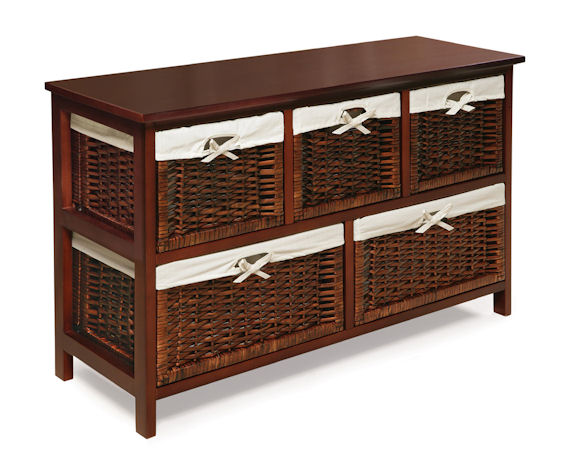 Five Basket Storage Unit with Wicker Baskets The Frog
