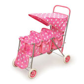 Pink with White Polka Dots Triple Doll Stroller