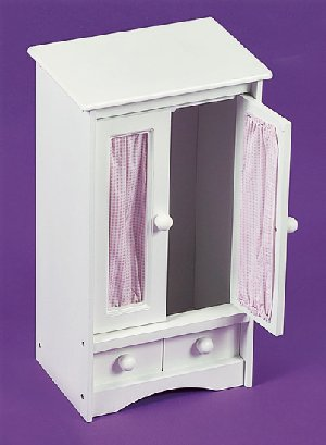 Doll Armoire with Three Hangers