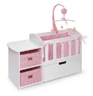 Doll Crib Storage Dresser and Trundle Drawer