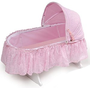 Folding Doll Cradle with Pink Gingham Fabric