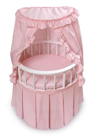 Round Doll Crib with Canopy and Bedding
