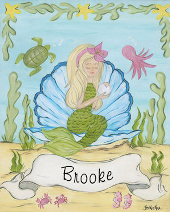 Mermaid Gifts Mermaid Decor Mermaid Art Print Mother S: Personalized Mermaid Girls Framed Art