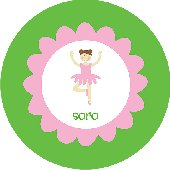 Ballerina Green and Pink Personalized Dinnerware