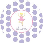 Ballerina Purple Polka Dot Personalized Dinnerware
