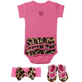 Lollipop Leopard Ruffled Onesie 3 Piece Gift Set