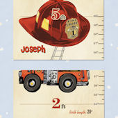 Bella Baby Art Fireman Fire Fighter Growth Chart