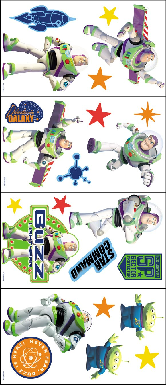 Toy story buzz lightyear room appliques the frog and the for Buzz lightyear wall mural