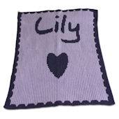 Personalized Stroller Blanket Heart  Scallop Edge