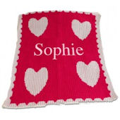 Personalized Stroller Blanket  Hearts Scallop Edge