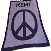 Personalized Stroller  Blanket  Large Peace Sign