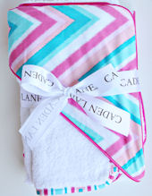 Ikat Pink Chevron Hooded Towel Set