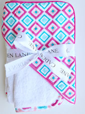 Ikat Pink Diamond Hooded Towel Set