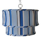Caden Lane Blue Stripe Ceiling Pendant