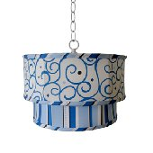 Caden Lane Dark Blue Swirl Ceiling Pendant